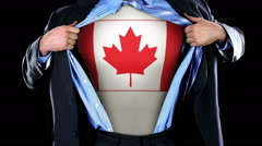 Superhero Tearing Open Shirt Revealing Canadian Flag Maple Leaf on Chest  Stock Footage