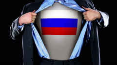 Superhero Tearing Open Shirt Revealing Russian Flag Chest like Comic Book Stock Footage