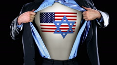 Superhero Tearing Open Shirt Revealing American Flag Jewish Star on Chest  Stock Footage