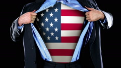 Superhero Tearing Open Shirt Revealing American Flag on Chest  - stock footage