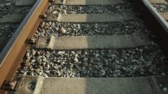 Railroad tracks at daylight Stock Footage