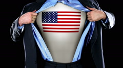 Superhero Tearing Open Shirt Revealing American Flag on Chest  Stock Footage