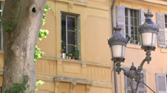 WINDOW AND STREET LAMP, AIX EN PROVENCE, FRANCE Stock Footage
