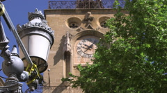STREET LAMP AND CLOCK, AIX EN PROVENCE, FRANCE Stock Footage