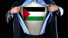 Superhero Tearing Open Shirt Revealing Palestinian Flag on Chest  Stock Footage