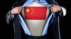 Superhero Tearing Open Shirt Revealing Chinese Flag on Chest  Stock Footage