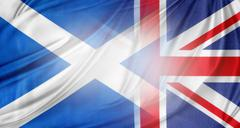 scotland and british flags together - stock illustration