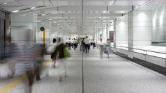 Time-lapse of pedestrians walking in Shinjuku underground passageway, Tokyo Stock Footage