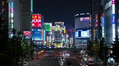 Time-lapse view of Shinjuku traffic at night, Tokyo, Japan - stock footage