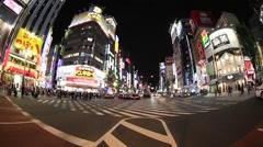 Fish-eye view of Kabukicho district in Shinjuku, Tokyo, Japan Stock Footage