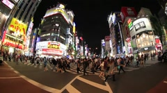 Fish-eye view of Kabukicho district in Shinjuku, Tokyo, Japan Stock Footage