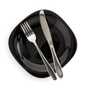 plate, knife and fork  on white background - stock photo