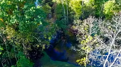 Aerial view of the early autumn colors over the Huron River Stock Footage