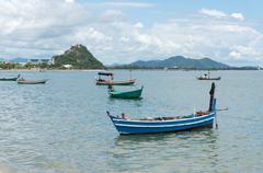 fishing boats moored at the gulf prachuap, prachuap khiri khan province , bac - stock photo