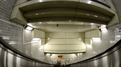 POV of Riding down Escalator in the Tokyo Metro Station Stock Footage