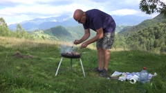Tourist Prepare Barbeque Camping Area Outgoing Family Mountain Vacation Picnic Stock Footage