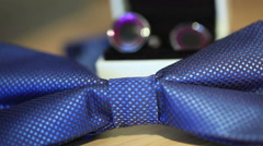 Bowtie and cufflinks for the groom Stock Footage