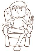 A plain sketch of a lazy man holding a remote control - stock illustration