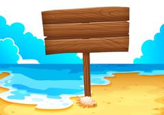 An empty wooden signboard at the sea - stock illustration