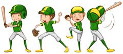 A coloured sketch of the baseball players in green uniform - stock illustration