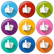 Round icons with hands showing the approval sign - stock illustration