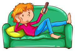 A coloured sketch of a lazy boy - stock illustration