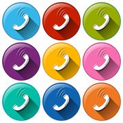 Round icons showing a telephone receiver - stock illustration