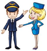 A simple drawing of a pilot and a stewardess - stock illustration