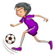 A soccer player with a violet uniform - stock illustration