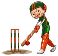 A male cricket player - stock illustration