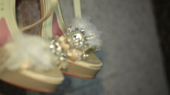 Bridal shoes with feathers Stock Footage