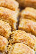 turkish baklava,also well known in middle east, close up. - stock photo
