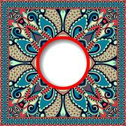 decorative pattern of ukrainian ethnic carpet design with place - stock illustration