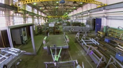 Workshop with machine tools and materials. Aerial view Stock Footage