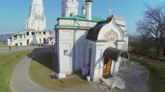 Church of Ascension in Kolomenskoye at sunny day. Aerial view - stock footage