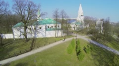 Stock Video Footage of Complex in Museum-Reserve Kolomenskoe with Church of Ascension