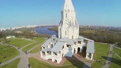 Edifice of Church of Ascension on rivers shore - stock footage