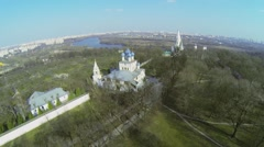 Territory of museum preserve Kolomenskoe with Church Stock Footage