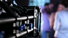 box with camcorder shooting preparation singer to video movie - stock footage