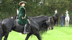 Classic cavalry big quadrille lady on horse Stock Footage