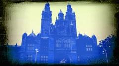 Kelvingrove museum, Glasgow, Scotland. Grunge video Stock Footage