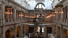 Interior of Kelvingrove museum, Glasgow, Scotland Stock Footage