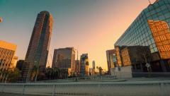 Downtown city of Los Angeles near 110 freeway bridge. 4K Timelapse hyperlapse Stock Footage