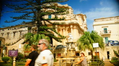 Noto,view of the S. Domenico Church and Hercules fountain,4k Stock Footage