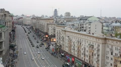 Tverskaya street during rehearsal for Victory Day parade Stock Footage