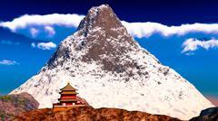 Buddhist temple in Tibet Stock Illustration
