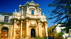 Noto,view of the S. Domenico Church and Hercules fountain, 4k Stock Footage