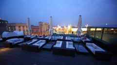 Terrace of restaurant O2 Lounge on roof of hotel The Ritz-Carlton Stock Footage