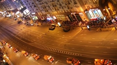 Trucks with flashers at rehearsal of Victory Day parade in night Stock Footage