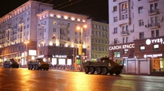 Armored troop-carriers at night rehearsal of Victory Day parade Stock Footage